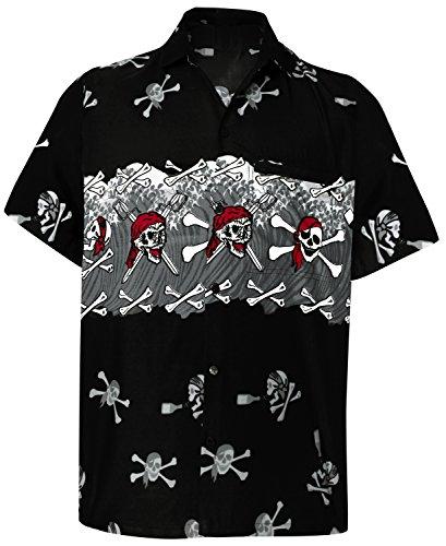 LA LEELA Likre Casual Dress Camp Shirt Black
