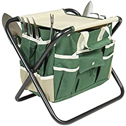 Best Choice Products 7 Piece Garden Tool Set Folding Stool W/ Tool Bag & 5 Stainless Steel Tools