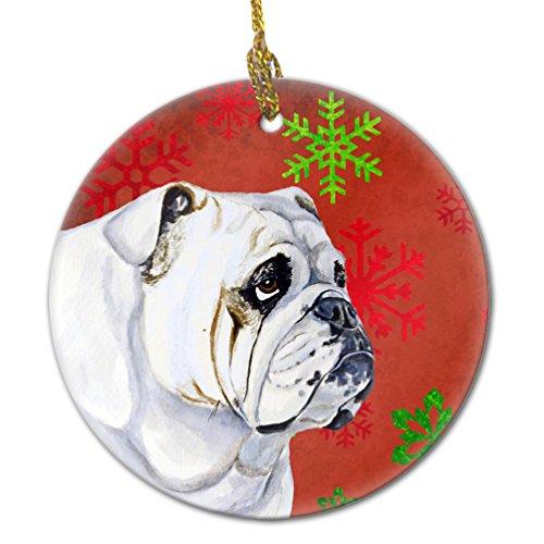 Caroline's Treasures LH9319-CO1 Bulldog English Red Snowflake Holiday Christmas Ceramic Ornament, Multicolor Bulldog White Christmas Ornament