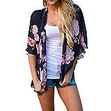 Ecurson Women Floral Print Beach Chiffon Loose Shawl Kimono Cardigan Top Cover Blouse (XL)