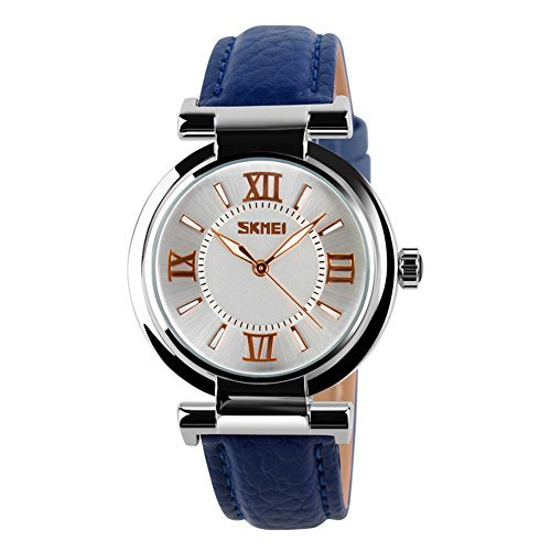 SKMEI Women's Girls Watches Fashion PU Leather Strap Waterproof Quartz Watch For Ladies (Blue)