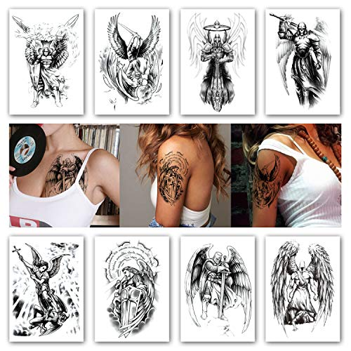 Kotbs 8 Sheets Temporary Tattoos for Men Women Wing Holy Angel Waterproof Temporary Tattoo Sticker Brave knight Warrior Flash Tattoos Body Art Arm Fake - Tattoo Angel Temporary