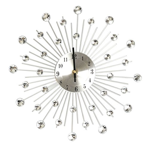 NOMSOCR Home Decor Clock, European Style Digital Silent Metal Wall Clock with Rhinestone for Kitchen, Living Room, Bathroom, Bedroom, Office (White)