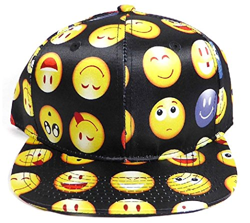 Emoji Faces Flat Bill Snapback (Black)