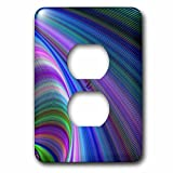 3dRose David Zydd - Colorful Abstract Designs - Sink in Colors - abstract curved graphic - Light Switch Covers - 2 plug outlet cover (lsp_286782_6)