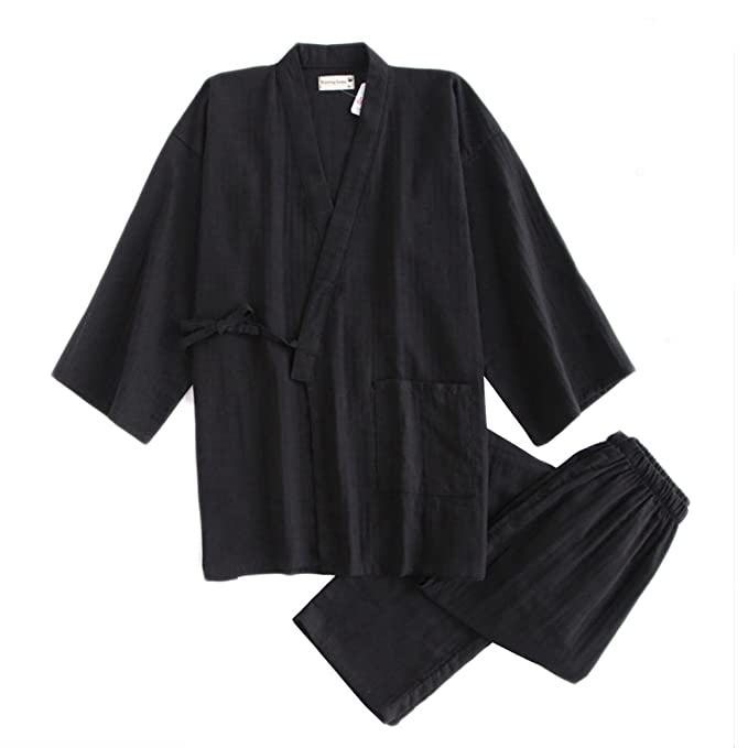 d0a8a35359 Men s Japanese Style Cotton Kimono Pajamas Suit Dressing Gown Set Black ...