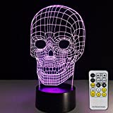 Skull Lamp with Remote Controller LED Touch 7 Colors Changing Table Desk Lamp Optical Illusion Light USB Charger Acrylic Lamp for Halloween decorations for Kids Lamp Halloween Lights
