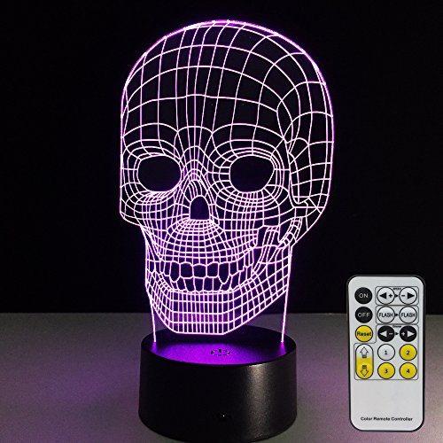 Skull Lamp with Remote Controller LED Touch 7 Colors Changing Table Desk Lamp Optical Illusion Light Halloween Decorations Acrylic Lamp for Halloween decorations for Kids Lamp Halloween Lights
