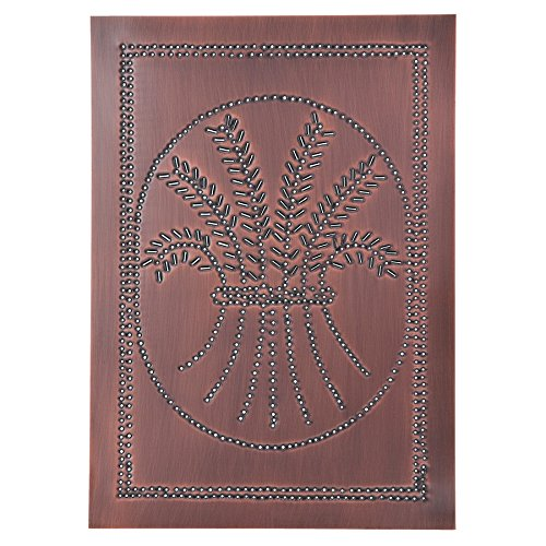 Irvin's Country Tinware Vertical Wheat Panel in Solid Copper