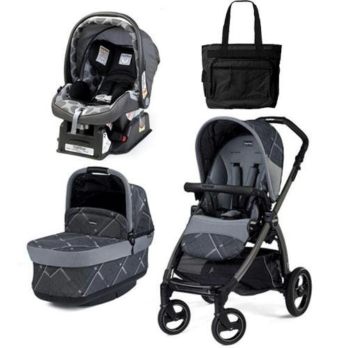 Peg Perego - Book Pop Up Stroller - Portraits Grey Special Edition With Primo Viaggio sip 30 30 Car Seat and Diaper Bag