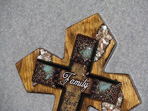 Blue Mother Of Pearl Cross - decorative cross, wall cross, handmade cross, wooden cross, Family mother of pearl, home wall decor, Family cross