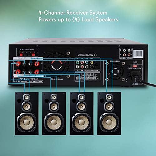4 Channel Wireless Bluetooth Amplifier – 3000 Watt Stereo Speaker Home Audio Receiver w/ FM Radio, USB, 2 Microphone w/ Echo for Karaoke, Front Loading CD DVD Player, LED, Rack Mount – Pyle PD3000BA 51zh5vh3tWL