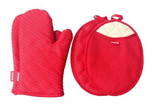 Honla Pot Holders and Oven Mitts/Gloves With Silicone Printed - 2 Hot Pads and 2 Potholders Set,4-Piece Heat Resistant Kitchen Linens Set for Cooking,Baking,Grilling,Barbecue,Red (Holders Vintage Pot)