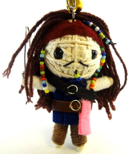 Jack Sparrow Voodoo String Doll Key Chain Handmade Pirates Of the Caribbean V1