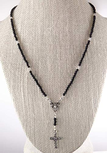 Rosary Necklace 18 Inch Black Italian Onyx with Sterling Silver Medal and Cross Mother's Day Gift Handmade