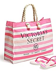 Victorias Secret Striped Canvas Tote & Flip-Flops