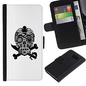 All Phone Most Case / Oferta Especial Cáscara Funda de cuero Monedero Cubierta de proteccion Caso / Wallet Case for Sony Xperia Z3 Compact // Black White Skull Pirate Jewel Death
