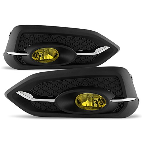 For 2014 2015 Honda Civic 2DR Coupe Yellow Lens Bumper Driving Fog Light W/Switch + Bulbs (2dr Fog Yellow Lights)