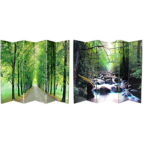Oriental Furniture 6 ft. Tall Path of Life Room Divider 6 Panel (Dividers Oriental Screen)
