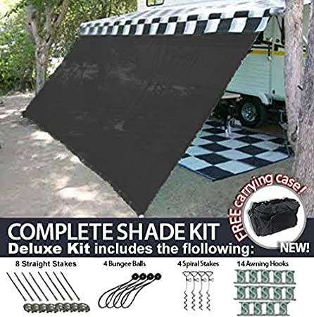 RV Awning Shade Motorhome Patio Sun Screen Complete Deluxe Kit Black 8x13