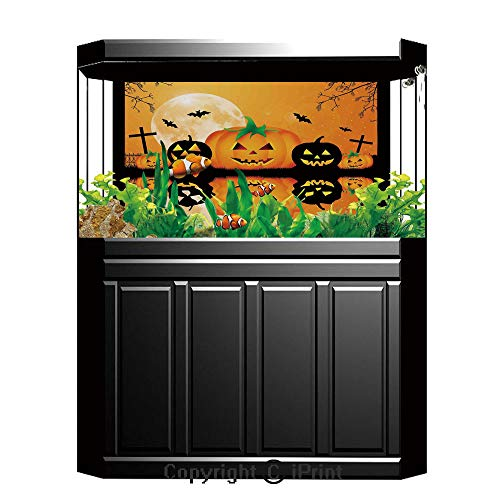 Terrarium Fish Tank Background,Halloween Decorations,Spooky Carved Halloween Pumpkin Full Moon with Bats and Grave Lake,Orange Black,Photography Backdrop for Pictures Party Decoration,W48.03