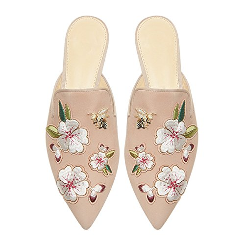 Lovirs Womens Loafers Flats Embroidery Mule Slippers Shoes Nude Flowers
