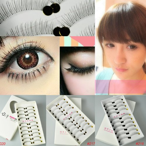 57421a07672 Amazon.com : 50 Pairs Natural Look Taiwan Handmade Fake False Eyelashes Eye  Lashes Transparent Stem High Quality #217 Classical Eyelashes - MZZH15001 :  Fake ...