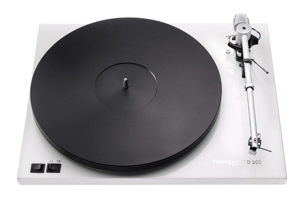 Thorens TD 203 - Tocadiscos (Tocadiscos de tracción por Correa, Negro, Blanco, MDF, 45 RPM, CC, 3,53 kg)