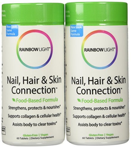 Tablets 60ct Bottle - Rainbow Light Nail, Hair and Skin Connection Food-Based Tablets, 60-Count Bottles (Pack of 2)