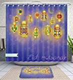 Amavam Bathroom 2-Piece Suit Islamic Muslim Holiday Blessing Background Or Greeting Card With Oriental Lamps And Lanterns Shower Curtains And Bath Mats Set, 60'' Wx72 H & 23'' Wx16 H