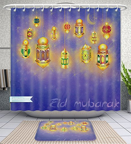 Amavam Bathroom 2-Piece Suit Islamic Muslim Holiday Blessing Background Or Greeting Card With Oriental Lamps And Lanterns Shower Curtains And Bath Mats Set, 60'' Wx72 H & 23'' Wx16 H by Amavam