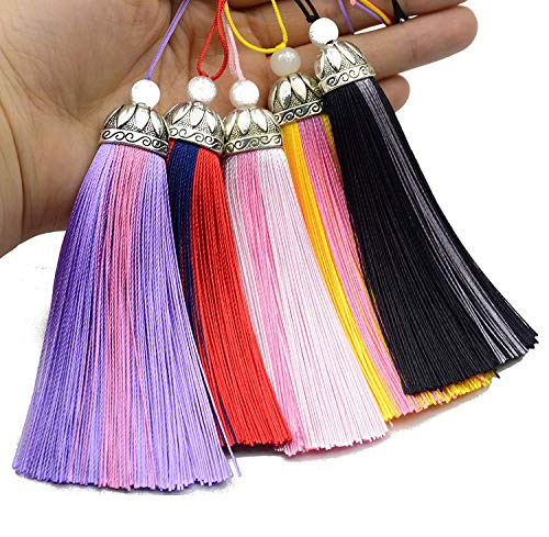 LEEQ 5pcs 10''/26cm Silky Floss Bookmark Tassels with 6'' Cord Loop Decorated with Lotus Head and Craft Beads for Jewelry Making, Souvenir, Bookmarks, DIY Craft Accessory