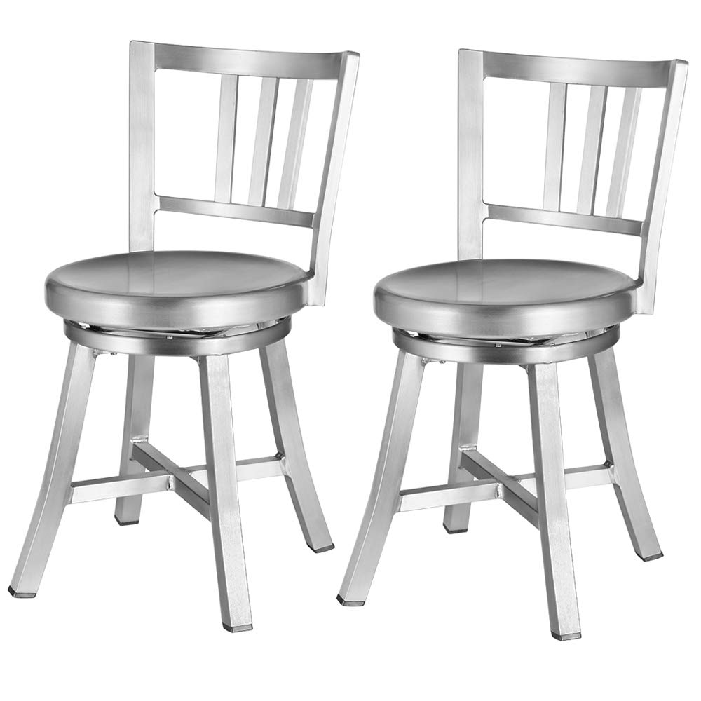 Renovoo Aluminum Swivel Dining Chair, Pack of 2, Commercial Quality, Fully Assembled, Brushed Aluminum Finish, 18 Inches Seat Height, Indoor Outdoor Use