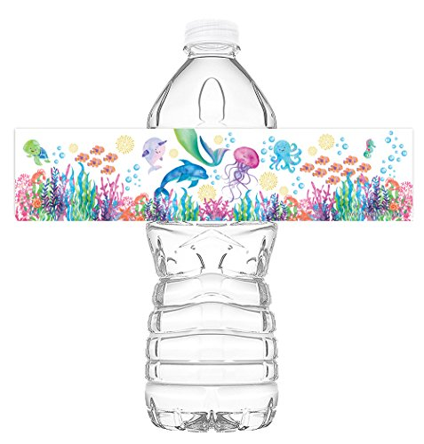 Mermaid Under the Sea Watercolor Bottle Wraps - 20 Under the Sea Water Bottle Labels - Mermaid Under the Sea Decorations - Pool Party Decorations - Made in the USA - Watercolor