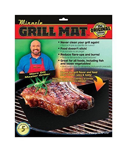 Miracle Grill Mat - Set of 2 Mats Barbecue Mat Nonstick for Outdoor BBQ and Camping  Reusable by by Miracle Grill Mat by GWM