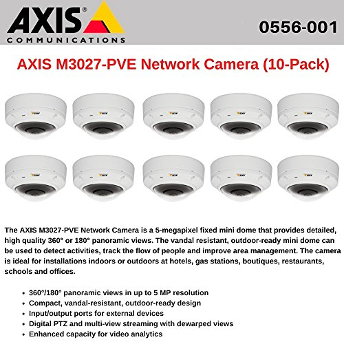 AXIS M3027-PVE (10-Pack) Network Camera Outdoor-ready dome with Panoramic Views