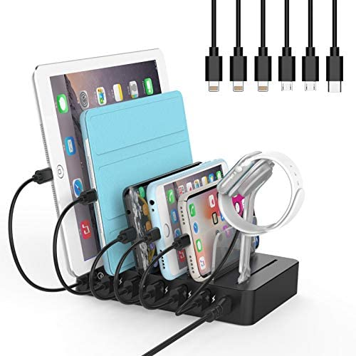Fastest Charging Station with Quick Charge 3.0, NTONPOWER 6 Ports Charging Dock Station Organizer for Multiple Devices, iWatch Stand, 6 Phone Charger Cables, for Smartphone, Tablet, Kindle [UL Listed]