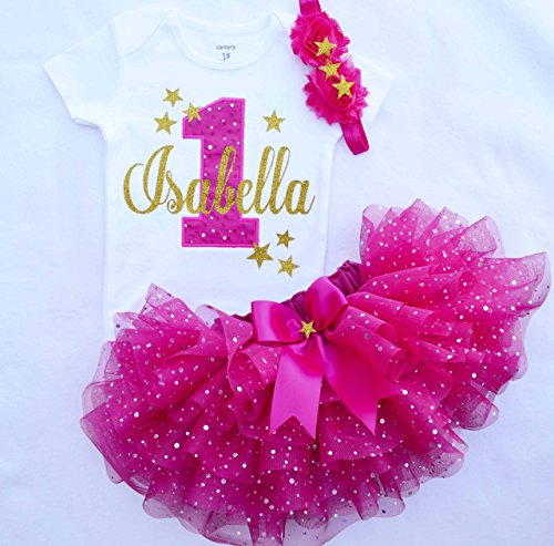 First Birthday Outfit Girl,hot pink gold ,Girl Cake Smash Outfit,twinkle twinkle little star birthday outfit,personalized 1st birthday dress ()