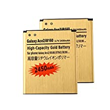 2 pcs Gold Extended Samsung Galaxy Exhibit SGH-T599N High Capacity Battery EB425161LU For Samsung Galaxy Exhibit SGH-T599N / Samsung Galaxy S3 Mini GT-I8190 / Samsung Galaxy Ace 2 GT-I8160 / Samsung Galaxy Exhibit SGH-T599 2450 mAh