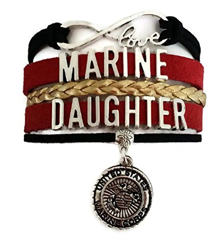 Kit's Kiss Marine Daughter bracelet, USMC bracelet, USMC jewelry, Marine Corp bracelet, Marine jewelry, love infinity bracelet (Marine Daughter)