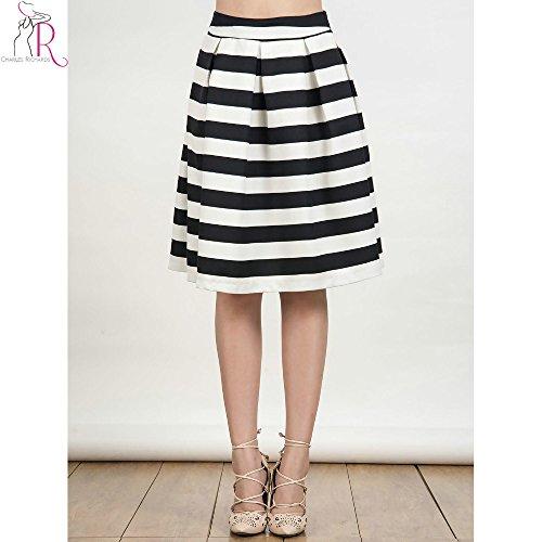 [Muktat_ Women Autumn 2016 Black White Striped Textured A Line Middle Back Zipper High Waist Casual W omen Vintage Pleated Skirt ( Size L] (1970s Tennis Costume)