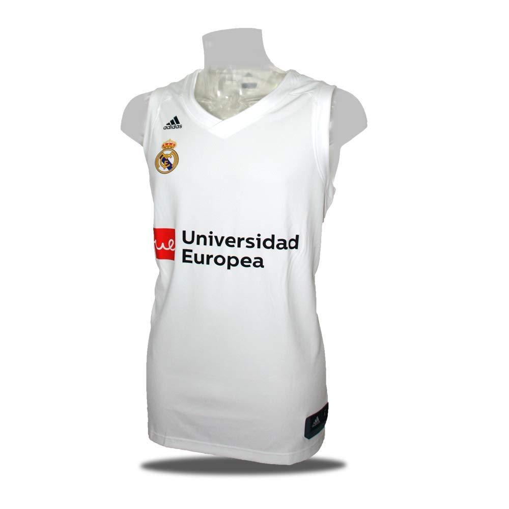 Adidas Camiseta Baloncesto Real Madrid 18/19 Blanca: Amazon.es: Deportes y aire libre