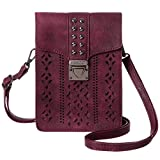 MINICAT Women RFID Blocking Small Crossbody Bags Cell Phone Purse Wallet With Credit Card Slots(Burgundy-Thicker)