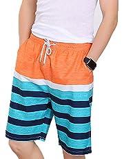 MINIKIMI Korte broek voor heren, zomer, ademende zwembroek, print, hotspring stijlvolle sneldrogende strandsurfer, zwembroek met trekkoord