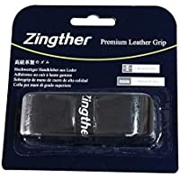 Zingther 2-Pack Adhesive Tennis Racquet Replacement Leather Grip Tape Also for Badminton / Racquetball / Squash Racket / Cane Handle / Pickleball Paddle - Soft, Tacky, Absorbent, Ultra Cushion ( Pack of 2 Grips)