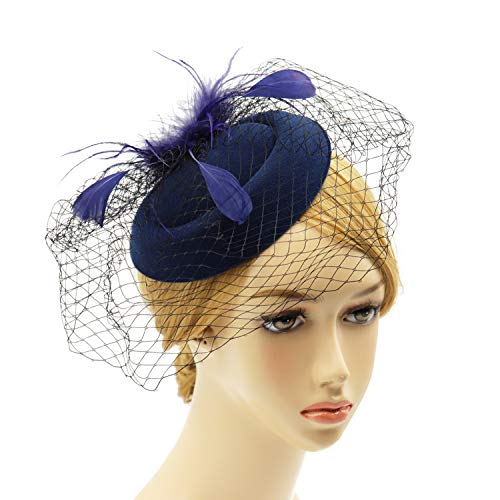 Wheebo Fascinator Hat Flower Feather Mesh Veil Wedding Tea Party Derby Cocktail Hat Headwear for Women Lady Girls (D-Navy Blue)
