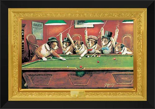 Dogs Playing Pool 28x40 Framed Art Print by (Coolidge Dogs Playing Pool)