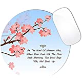 Be The Kind Of Woman Bible Quote Pink Cherry Blossom Flower Branch Mouse Pad (ROUND)