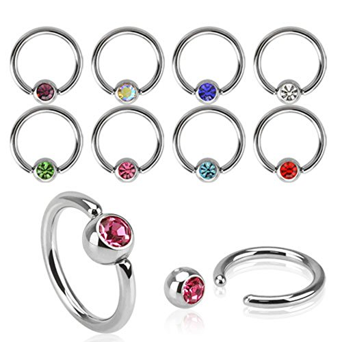 Freedom Fashion Press Fit Gem Ball Captive Bead Ring (Sold by Piece) (Ring Nose Red Gem)