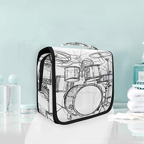 SLHFPX Hanging Toiletry Bag Graffiti Sketch Style Drummer Music Inspired Large Cosmetic -